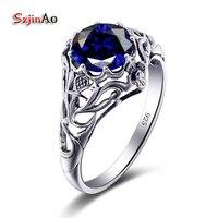 Szjinao Paar Blaue Ringe Handmade Blau Zirkonia Silber 925 Hochzeit Ringe Kristall Frauen Türkischen Schmuck Valentinstag Geschenk