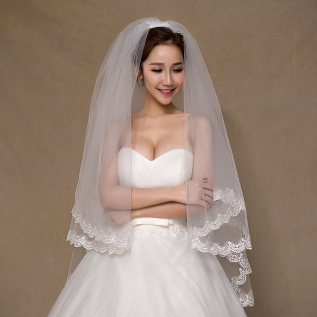 Velos De Novia Hot Sell Bridal Veil Lace Edge Kate Middleton White Ivory Wedding