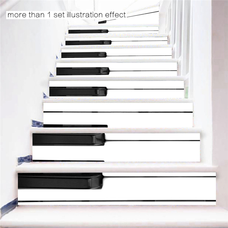 Great 6 Pcs DIY Steps Sticker Removable Piano Keys Staircase Stickers Ceramic  Tiles Patterns Sticker Decoration Newly