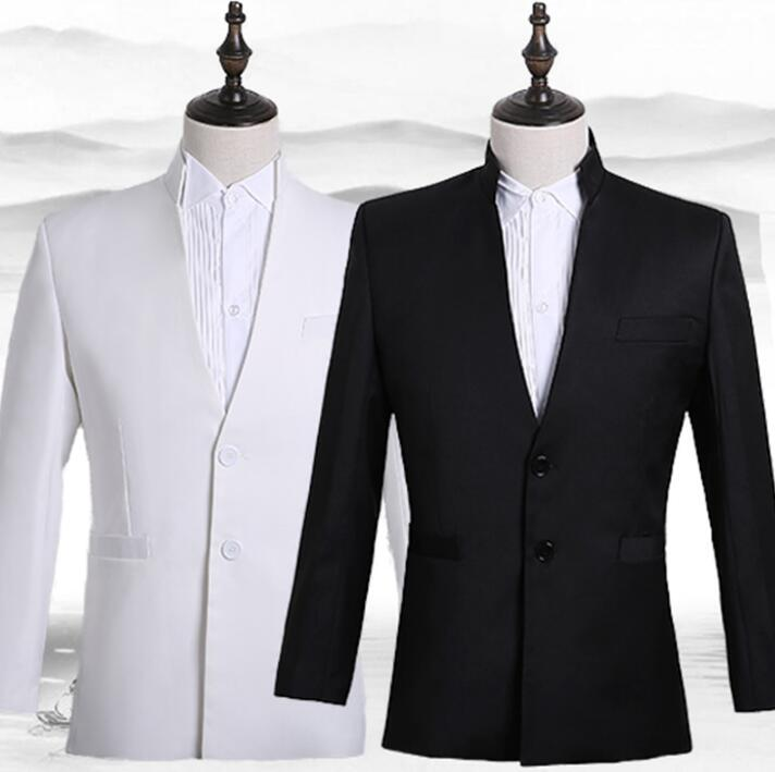 Blazer Men Formal Dress Latest Coat Pant Designs Marriage Suit Mens Chinese Tunic Suit Wedding Suits For Men's Black White 3XL