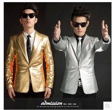 Nightclub singer host men's suits Slim Korean men singer stage leisure suit groom wedding pu leather suit dress Costumes