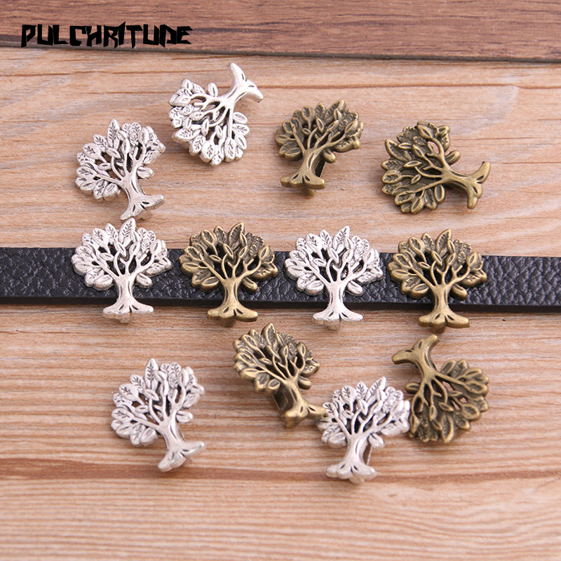 10pcs Two Color Tree Wheel Spacers Adapters Slider Spacer Jewelry Material Spacers For Jewelry Making For 10mm Leather Cord