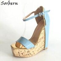 Sorbern Light Blue Wedge High Heel Sandals Women Platform Summer Shoes Open Toe Patent Leather Plus