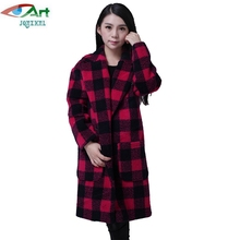 JQNZHNL 2017 New Winter Wool Coats Women Long Sleeved Loose Woolen Jackets Outerwear Medium Long Casual Plaid Wool Jackets E232