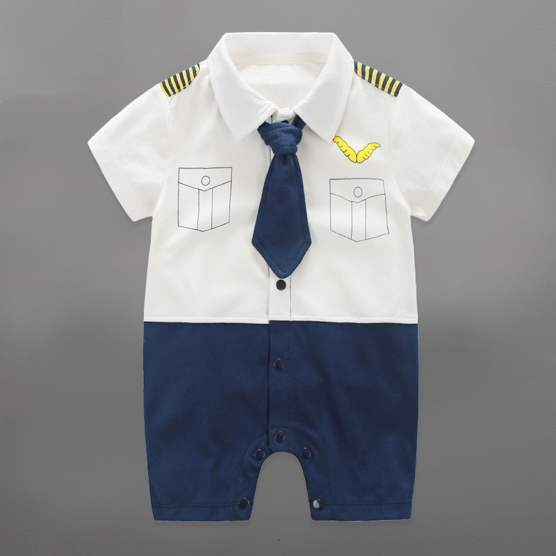 Baby Rompers Baby Airplane Unifiorm Boys Clothing Gentleman Toddler Baby Boy Clothes Roupa Infant Jumpsuits Newborn Baby Clothes
