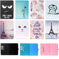 Lovely Cat Eye Rose Pattern Wallet Flip PU Leather Cover Case For Apple iPad Pro 12.9'' inch Tablet Shell Protector  Funda