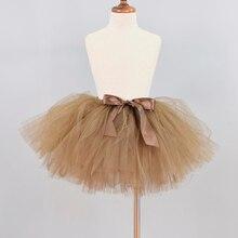 Коричневая Пышная юбка-пачка для маленьких девочек, детская Праздничная балетная юбка для танцев, юбка-американка для девочек, фатиновая юбка-пачка ручной работы, Newborn-12Y