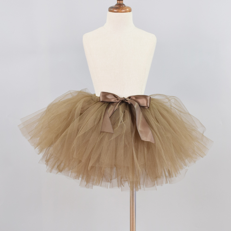 5e7a01031 Falda tutú marrón mullido para bebés niñas cumpleaños fiesta Ballet danza  falda chica ...