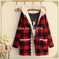 New Red High Quality Warm Winter Coat Thick Cotton Plaid Girls Winter Coats Winter Coat women Brand Cotton Coat Long Sleeve