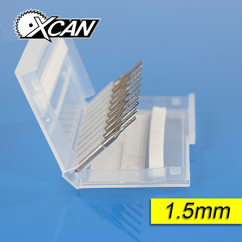 XCAN 10pcs 1.5mm PCB Carbide Tools CNC Cutting Bits Millinging Cutters Kit for Engraving drill bit цены