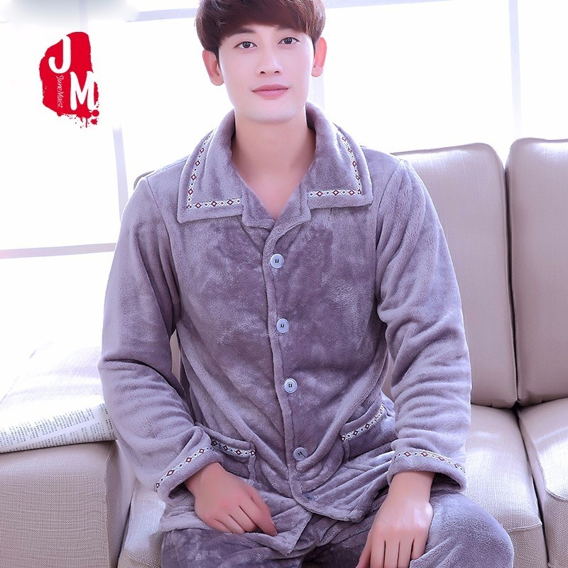 Mens Pajama Set Thick Flannel Coral Fleece Long Sleeve Winter Autumn Sleepwear