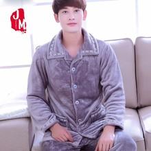 Winter Men Pajama Sets Coral Fleece Thick Solid Sleepwear Suits Flannel Long Sleeve Autumn Man Warm Homewear XXL XXXL