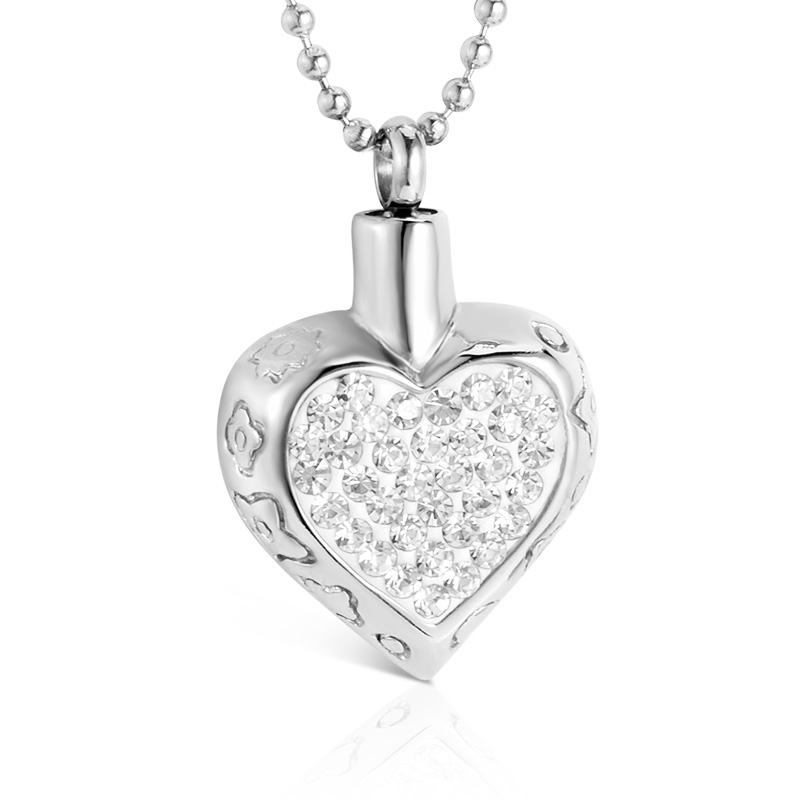 SOITIS Women/Men Rhinestone Necklace Urn Pendants Dog Ashes Steel Jewelry Cremation Sliver/Black Beaded Chain Heart Necklaces Детская кроватка