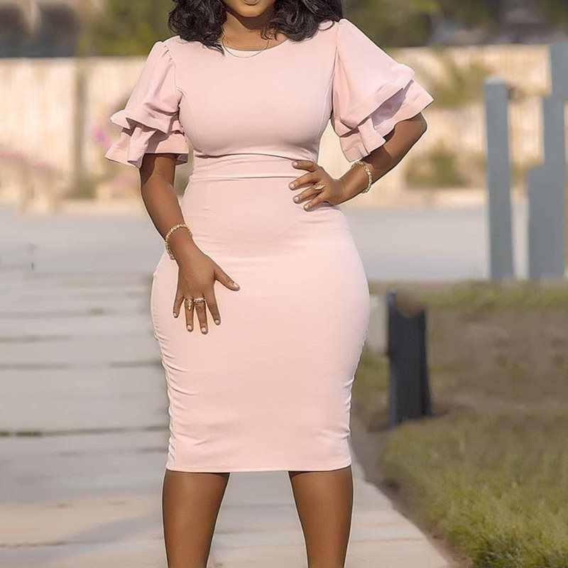 Розовые платья больших размеров для женщин 4xl 5xl 6xl вечерние элегантные облегающее офисное платье с рюшами рукав простые африканские женское платье-миди