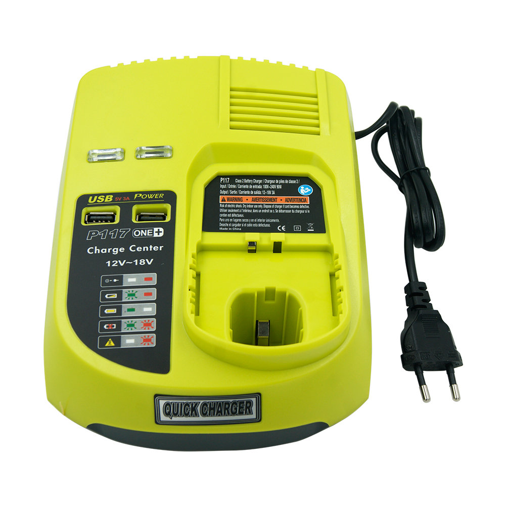 9.6 V 12 V 14.4 V 18 V ni-cad Ni-Mh chargeur de batterie au Lithium-ion pour Ryobi P108 RB18L40 P104 P117 One Plus + 2 Ports USB prise EU