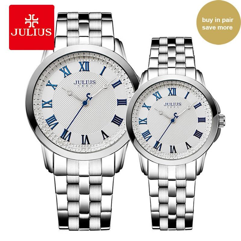 JULIUS Luxury Lovers Couple Classic Watches Waterproof Women Men Gold Stainless Steel Quartz Montre Homme Men Wristwatch JA-872