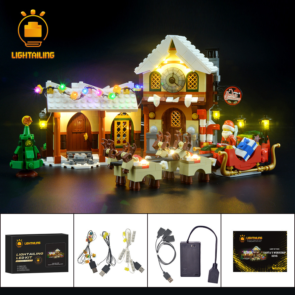 LIGHTAILING DIY LED Light Up kit For Christmas Santa s Workshop Building Model Block Light Set