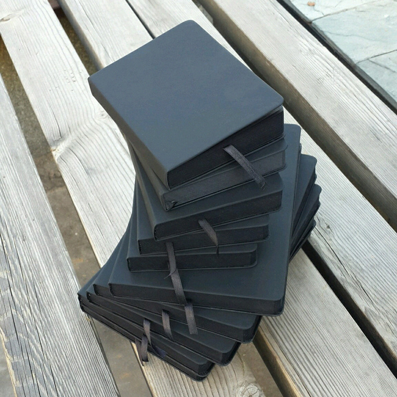 All black paper blank inner page portable small pocket notebook Sketchbook stationery gift hardcover notepad 14.5*10.5cm A6 size