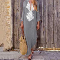 Beach Pareos Woman Beachwear Cape Skirt Tunic For The Sarongs Coverup Pass 2019 Neck Loose Long Sleeve Cotton Linen Dress Winter