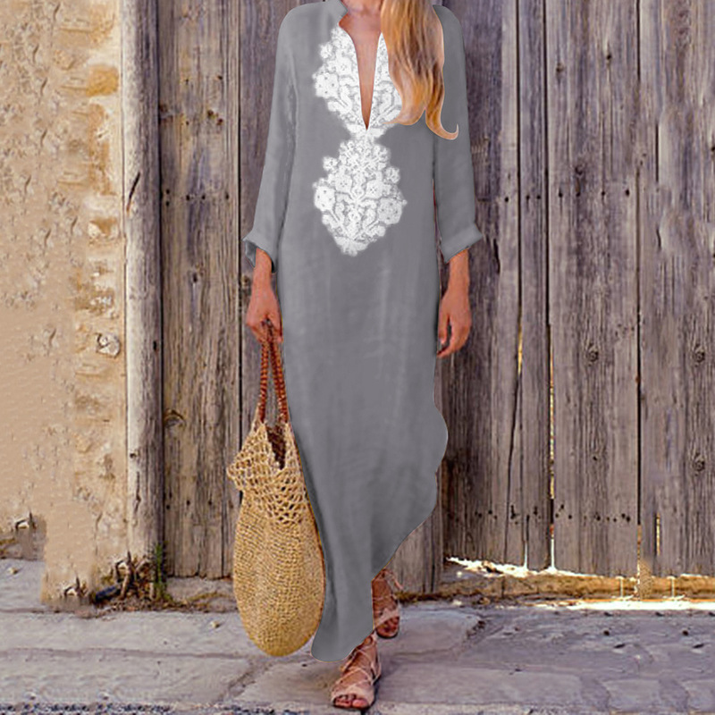 Beach Pareos Woman Beachwear Cape Skirt Tunic For The Sarongs Coverup Pass 2019 Neck Loose Long Sleeve Cotton Linen Dress Winter