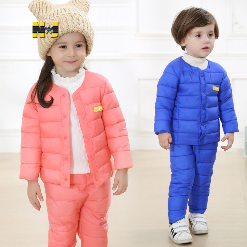 1-6Y Russia style kids winter suit thick warm cotton-padded winter outdoor clothes baby boys girls winter snow clothes
