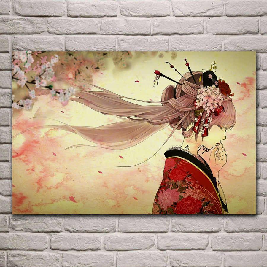 Hatsune miku arte quimono yache menina sakura tatuagem primavera flor jzk10 sala de estar parede moderna decoração da arte de madeira quadro cartaz