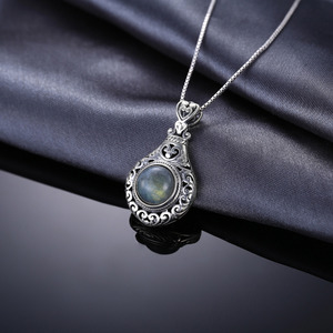 Image 4 - JPalace Heart Natural Labradorite Pendant Necklace 925 Sterling Silver Gemstones Choker Statement Necklace Women Without Chain
