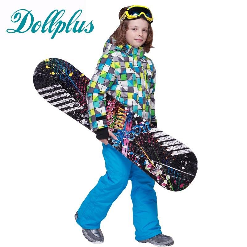 Russian Winter Boys Clothing Set Outdoor Windproof Waterproof Boys Ski Jacket+Bib Pants 2 pcs Children Ski Set 6-16Y russian winter children ski suit windproof outdoor girls ski jackets bib pants 2pcs girls clothing set for 2 7 years