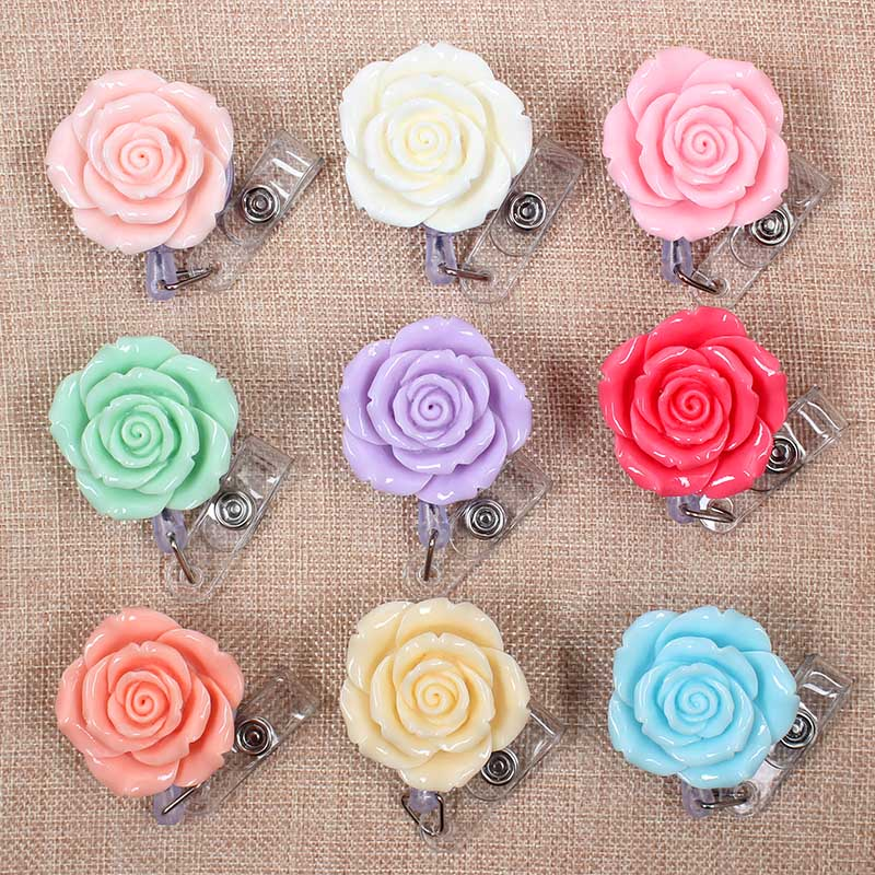 Creative Beautiful Colors Rose Flowers Clown Retractable Badge Card Holder Reel Girls Nurse Exhibition Enfermera Name Card Chest