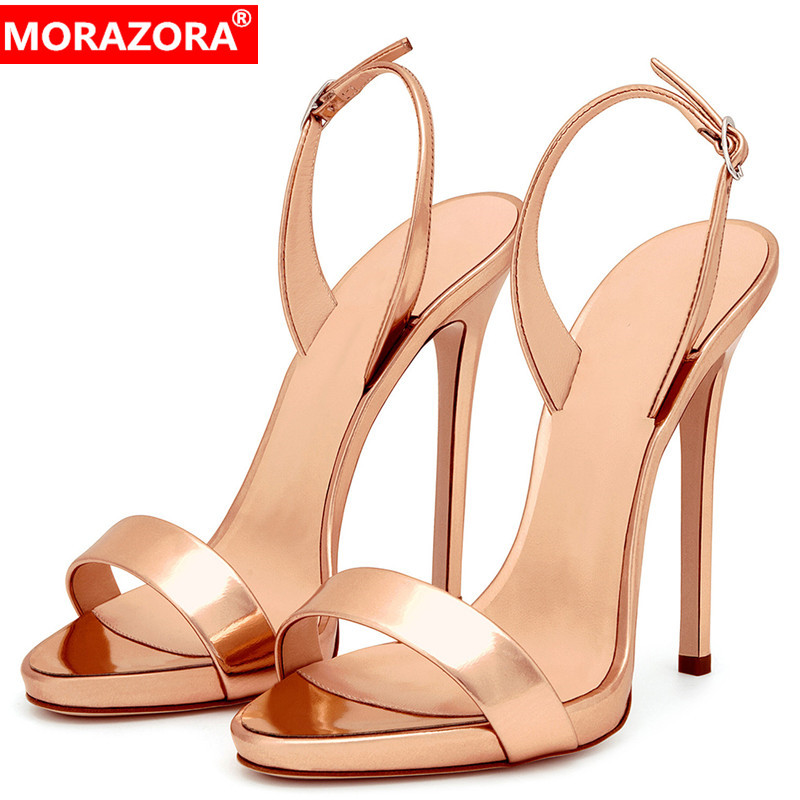 MORAZORA 2019 new arrival women sandals solid colors thin high heels shoes elegant party wedding shoes woman summer big size 45MORAZORA 2019 new arrival women sandals solid colors thin high heels shoes elegant party wedding shoes woman summer big size 45