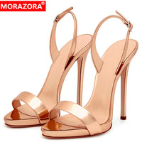 MORAZORA 2019 new arrival women sandals solid colors thin high heels shoes elegant party wedding shoes woman summer big size 45