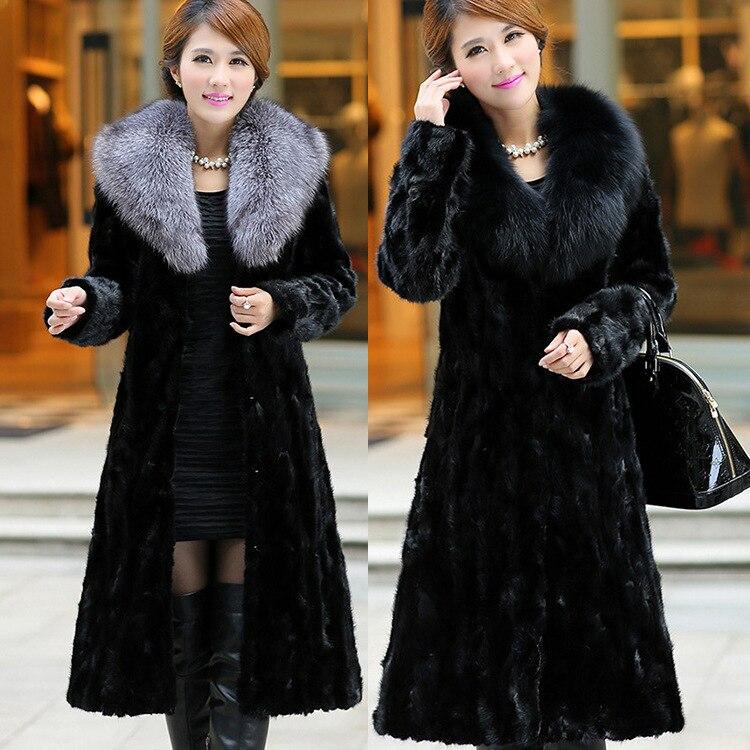 2018 New Fashion Fur Coat Imitation Leather Coat Autumn Winter Long Style Mink Fur Coat Fox Big Fur Collar gothic lolita style two wear woolen imitation fur coat steampunk autumn winter fashion long sleeve hooded long jackets