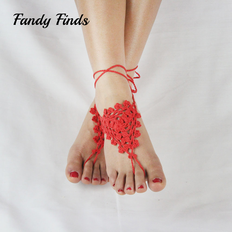 Hot Selling Women Summer Beach Lace-Up Crochet Accessroies Barefoot Diffuser Cut-Outs Ladies Wedding Engagement Shoes Decoration