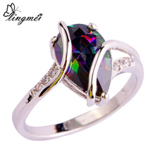 lingmei Wholesale Fashion Popular Pear Cut Rainbow & White Topaz 925 Silver Ring Size 6 7 8 9 10 Women Men Jewelry Free Shipping