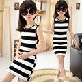 2016 Crianças de Verão Das Meninas Vestido Black & White Stripes Meninas Vestido de algodão Crianças T-shirt Dress for Adolescente Meninas Colete Vestido Vestido