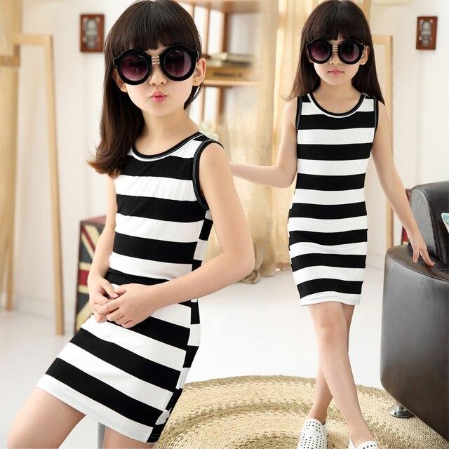 14442932b47a 2019 Children Girls  Summer Dress Black   White Stripes Girls Cotton Dress  Kids T-shirt Dress for Teen Girls Vest Dress Vestido