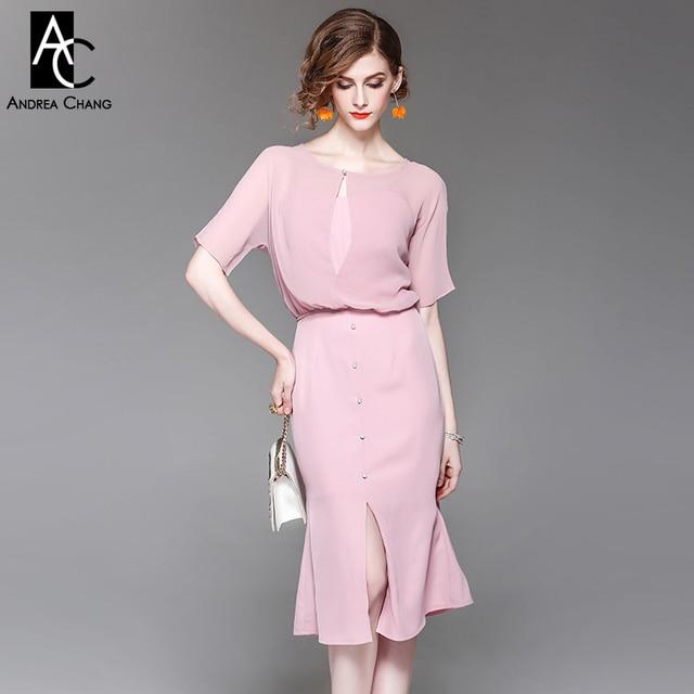 8f0aa27b118571 Fabulous Lente zomer vrouw jurk over knie kalf lengte roze jurk set voor   BJ99