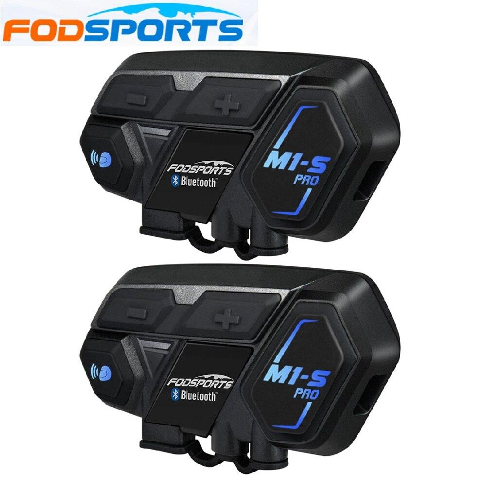 Fodsports 2 pièces M1-S Pro casque de Moto Interphone groupe 8 casque de cavalier casque Bluetooth étanche mains libres Interphone Moto