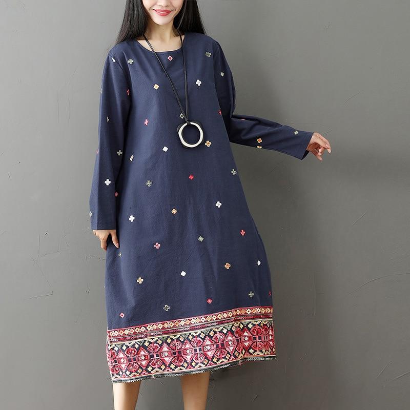 ilstile 2017 Vintage Women's Long Sleeve Floral Embroidery O-Neck Long Dress Casual Loose Kaftan Cotton Linen Dress Autumn New