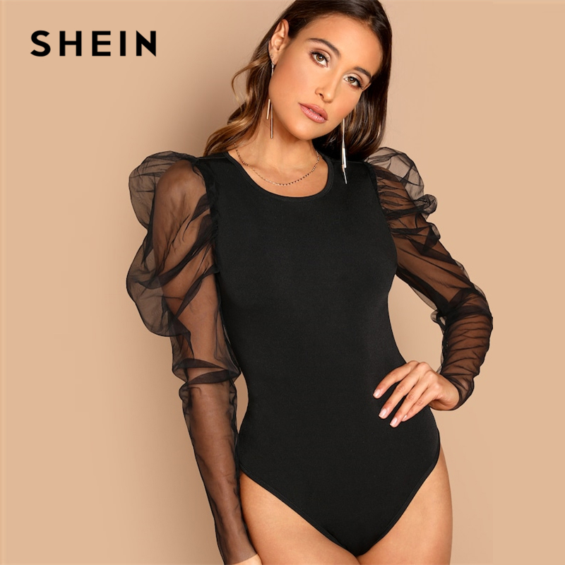 SHEIN Night Out Modern Lady Black Contrast Mesh Gigot Sleeve Mid Waist Skinny  Bodysuit Women Autumn 25fa43677