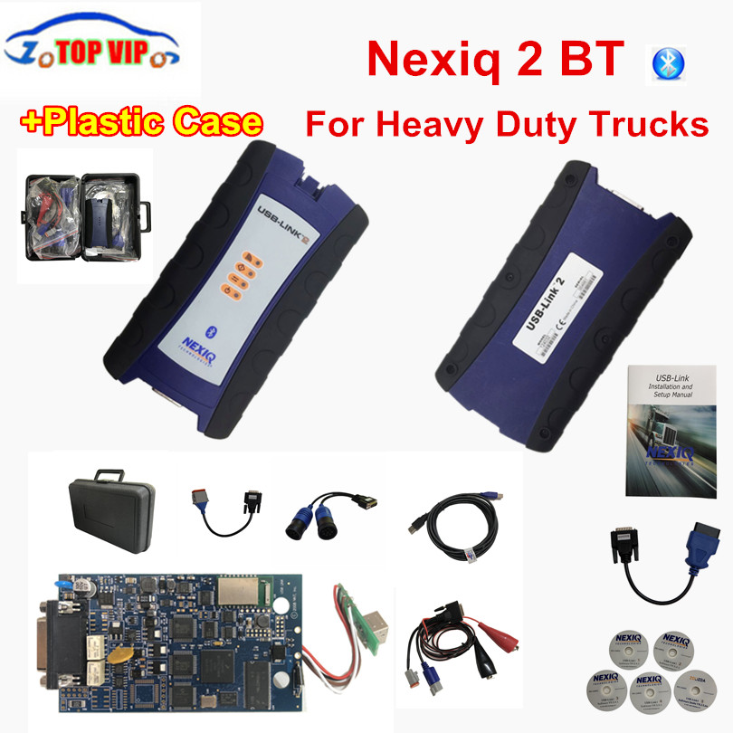 DHL Free NEXIQ 2 USB Link New Arrival Auto Heavy Duty Truck Nexiq 2 Bluetooth OBD Diagnostic Tool For Trucks with Carry Case