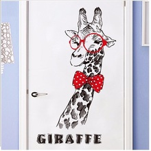 2018 mural art New Arrival Cutie Giraffe On Glasses Wall Stickers Home Decor Removable Background Art Cartoon Sticker