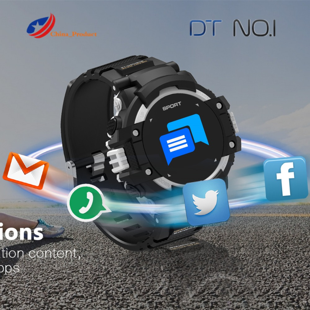 DTNO.I <font><b>NO.1</b></font> <font><b>F7</b></font> GPS Smart Watch Man Color LCD Realtime Heart Rate Temperature Monitor Multisport Outdoor Sport Fashion Smartwatch image