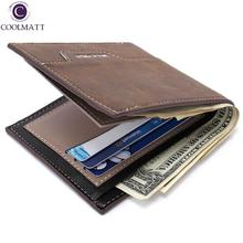 FREE SHIPPING Men's Bifold Business Leather Card Holder square Coin mini Purse Phone Wallet Men Bag