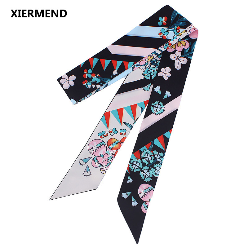 2018,120cm*5 New Long Small Floral Tied Bag Small Ribbon Female Fashion Ladies Silk Scarf Headband Hair Band Head Skinny Scarves