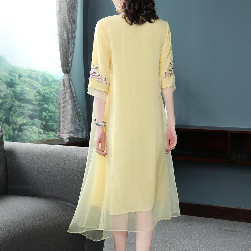 Zomer De Nieuwe Chinese Ruyi garen borduurwerk cheongsam jurk geel Zeven kwart mouw elegante mode Losse jurk S 2XL - 2