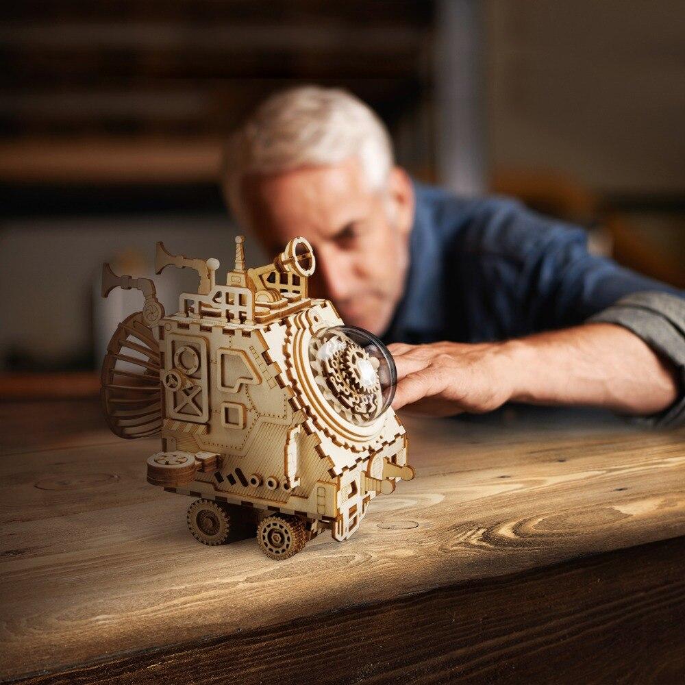 Robotime DIY 3D móvil nave espacial Puzzle montado modelo de madera de juguetes para los niños y niñas la formación del cerebro música caja de regalo AM681