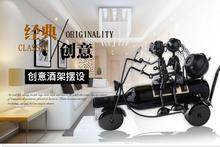 Fashion red wine rack lovers manned image motorcycle model furnishing articles home decoration ideas