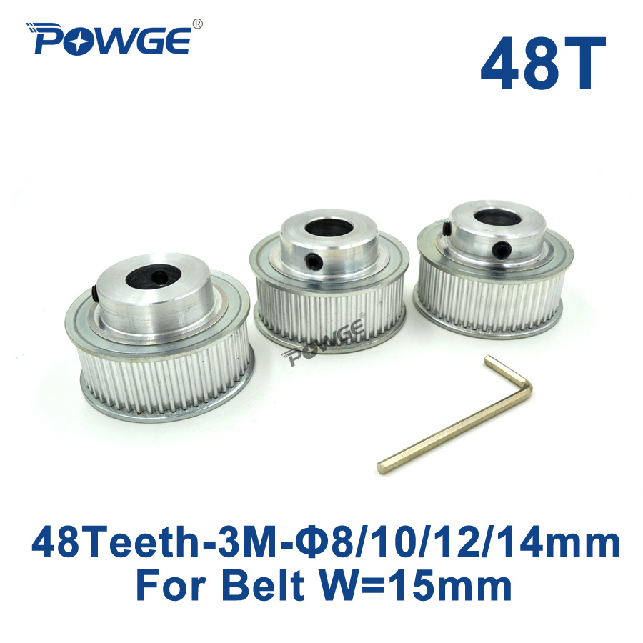 POWGE 3pcs 48 Teeth HTD 3M Timing Pulley Bore 8mm 10mm 12mm 14mm for Width 15mm 3M Synchronous belt HTD3M Wheel gear 48T 48Teeth powge 1pcs steel 18 teeth htd 3m timing pulley bore 8mm for width12mm 3m timing belt rubber htd3m pulley belt tooth 18t 18teeth