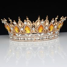 15 Colors Vintage Queen King Bridal Tiara Crowns Gold Crystal Women Prom Hair Ornaments Wedding Bride Hair Jewelry Accessories(China)